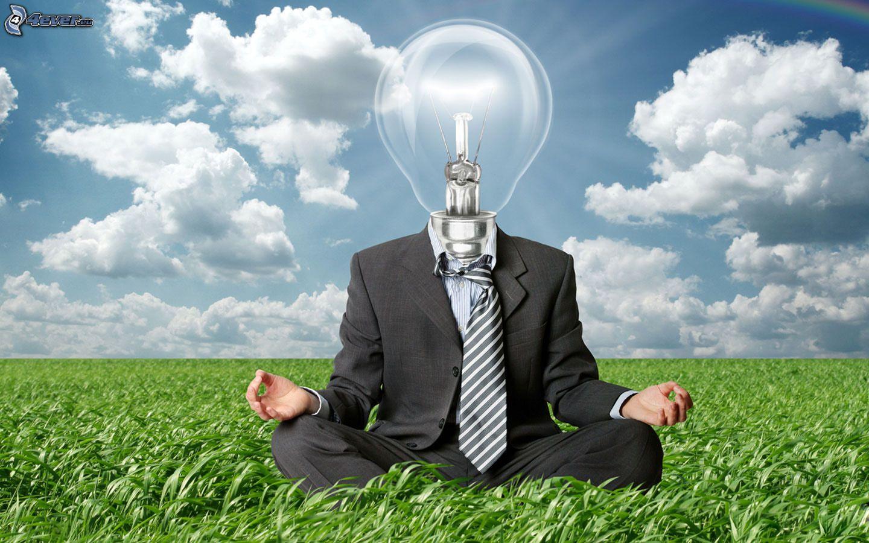 uomo lampadina : uomo,-lampadina,-luce,-meditazione,-giacca,-cravatta,-lerba,-nuvole ...