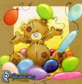 Orsacchiotto con palloncini - Immagine con palloncini ...